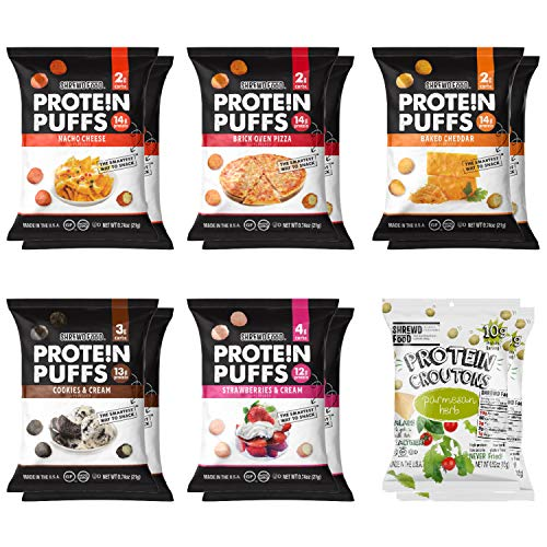 Shrewd Food Protein Puffs, Low-Carb, Keto-Friendly Snacks, Healthy Snacks, Gluten-Free, Soy-Free, Peanut-Free, Six Delicious Crunchy Flavors, Variety Pack of 12 Individual Servings