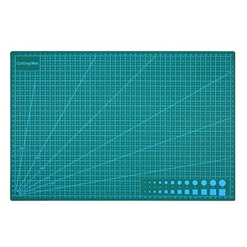 Lubanheart カッターマットA3 カッティングマット 両面印刷 大判 傷自動癒合機能 3mm厚さ グリーン 下敷き デスクトップ保護 定規/分度器機能付き A3サイズ 特大 450mm*300mm*3mm