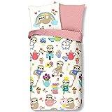 Aminata Kids Bettwäsche 135 x 200 Faultier-Motiv Baumwolle Mädchen rosa weiß - Reißverschluss, Wende-Kinder-Bettwäsche-Set lustige Coole Tier-Motiv-Bettwäsche Sloth, Bunte & kuschelig Spruch