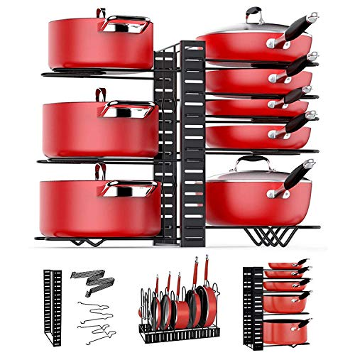 Pot Rack Organizers, ARVINKEY 8 Tiers Pan Organizer Rack for Cabinet, Adjustable Pot Lid Holders & Pan Rack with 3 DIY Methods for Kitchen Counter