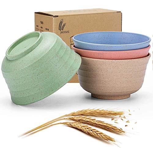 LikenLee Cuenco de paja de trigo saludable y degradable, cuenco para sopa, arroces, fruta, cuenco ligero e irrompible, apto para lavavajillas, 4 unidades (grande)