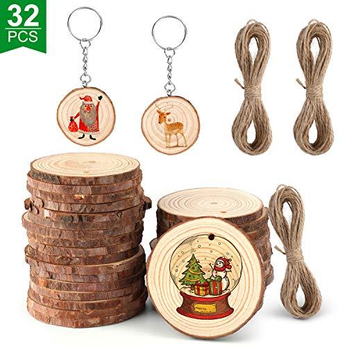 Emooqi Holzscheiben, Holz Log Scheiben Runde mit Baumrinde Unbehandeltes für DIY Handwerk Holz-Scheiben