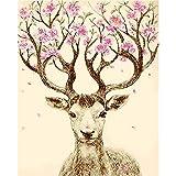Pintura de bricolaje por números de animales de ciervo cuadro moderno arte de pared pintura acrílica por números adultos para decoración del hogar A2 40 x 50 cm