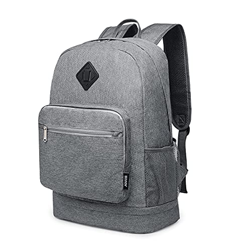 WANDF Foldable Backpack with Shoe Pocket Wet Compartment for Men Women (Grey)