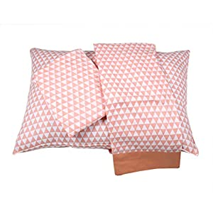 Bacati Aztec/Tribal Triangles 3 Piece Cotton Breathable Muslin Toddler Bedding Sheet Set, Coral/Navy, Small