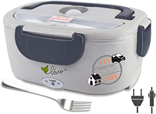 Electric Heating Lunch Box, 110V/12V 2 in 1 Portable Electric Food Warmer Lunch Heater for Car, Home, Office with Removable Stainless Steel Food Container (dark grey)