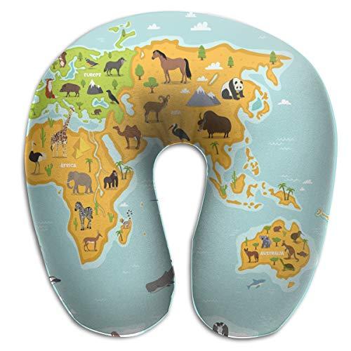 Zul Travel U Neck Pillow for Airplane Car Sleeping 100% Memory Foam Travel U Pillows, Animals Planet Concept