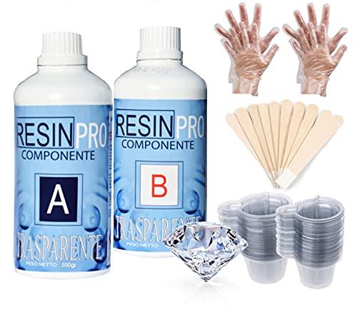 800 gr Resina epoxi transparente + set de utensilios- guantes, bastones de mezcla, vasos