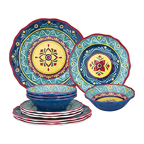 UPware 12-Piece Melamine Dinnerware Set, Includes Dinner Plates, Salad Plates, Bowls, Service for 4. (Fiesta Floral)