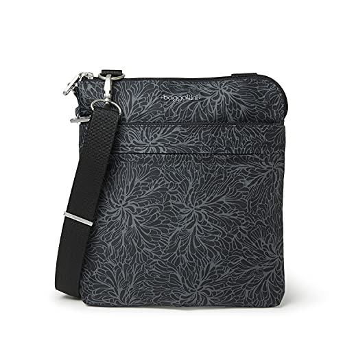 Baggallini Anti-Theft Harbor Crossbody Bag, Midnight Blossom