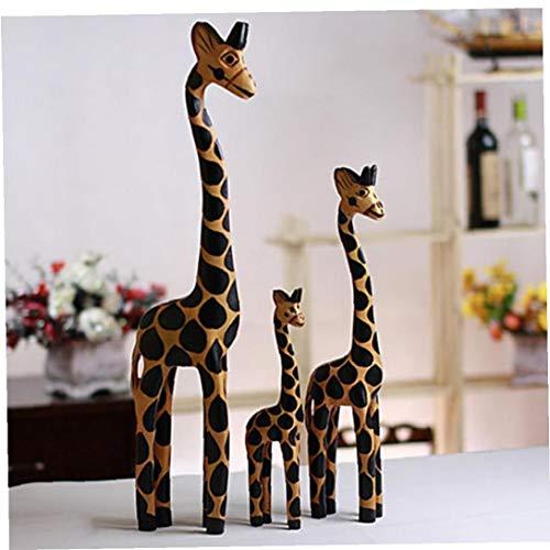 lujiaoshout 3 Piezas de Talla de Madera de la artesanía Inicio artículos de Equipamiento de la Jirafa de Madera Tallada a Mano Estatua de la Escultura Africana