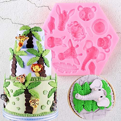 WYNYX Löwe Giraffe Elefant Tiere Silikonformen Cupcake Topper Fondant Kuchen Dekorationswerkzeuge Candy Clay Schokoladen Gumpaste Formen