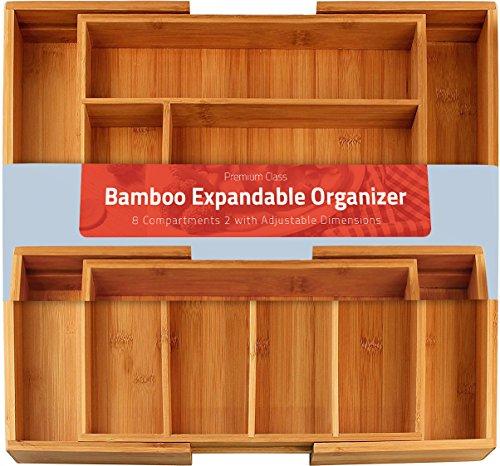 Utopia Kitchen 6-8 compartimientos Ajustables - Cubertero Expandible Bamboo - Cubertería y Utensilios Organizador