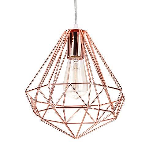 iDEGU lampada a sospensione Vintage Moderno lampadario da soffitto paralume in metallo a forma di gabbia diamante decorazione di illuminazione per camera da letto soggiorno, 25 cm, oro rosa