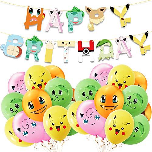 Juego de globos de cumpleaños Pokémon, PAWT con banderines bonitos, globos de látex de 12 pulgadas para niños, suministros para fiestas de cumpleaños, decoración de fiestas