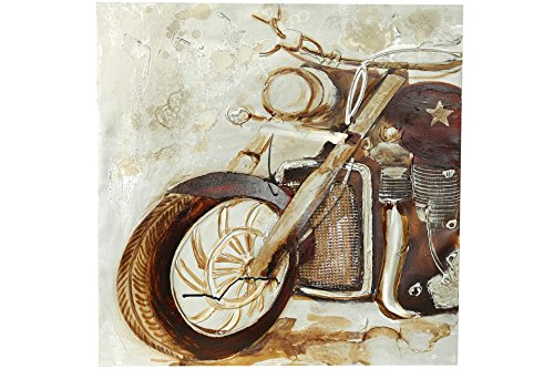 Posten Börse Motorrad Wandbild mit 3D Effekt 65 x 65 x 2,5 cm Biker Bild