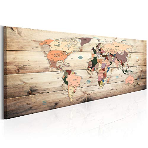 decomonkey Bilder Weltkarte 150x50 cm XXL 1 Teilig Leinwandbilder Bild auf Leinwand Wandbild Kunstdruck Wanddeko Wand Wohnzimmer Wanddekoration Deko Welt Karte Landkarte Kontinente