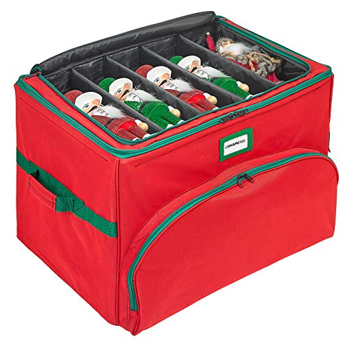 """Deluxe Christmas Ornament Storage Box - Heavy Duty 600D/ Inside PVC Material for Maximum Durability - Holds Up to 72 Ornaments 4"""" x 4"""" - Self-Standing Frame - Top Compartments for Figurine Up to 18"""" L - Extra Large Organizer with Customizable dividers"""