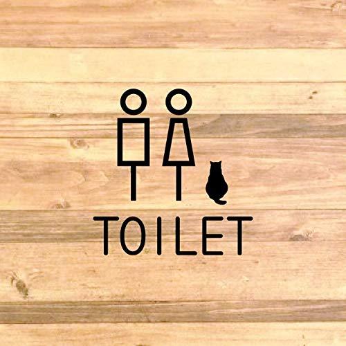 【TOILET・RESTROOM】猫もいます!トイレサインステッカーシール【トイレマーク・トイレシール・お手洗い・レストルーム】 (マットブラック)