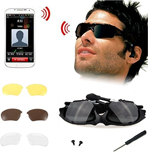 ELINKA Wireless Music Bluetooth Sunglasses Headset Headphone with Stereo Handsfree for iPhone 5S 6 Plus, Samsung Galaxy S3 S4 S5, HTC, LG and All Smart Phones or PC Tablets+Replaceable 3 Pair Lens