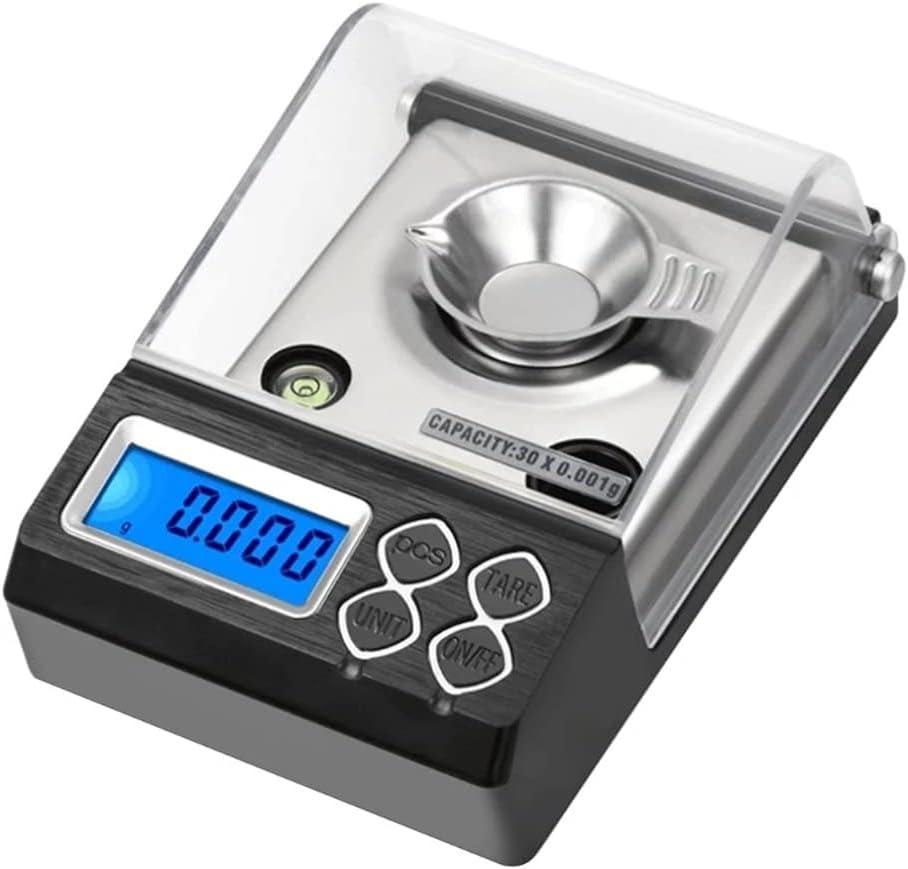 SDLSH Escalas electronicas 30 g / 0.001g Escala de miligram Digitales, Equilibrio electrónico Escala de Polvo joyería de Oro Escala de Carat Balanza de Cocina