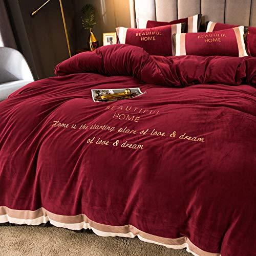 teddy fleece duvet set blue,Winter thick and warm French velvet double-sided velvet bed sheet bed sheet duvet cover duvet pillowcase-E_2.0m bed (4 pieces)
