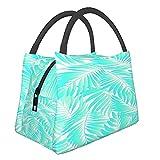 Bolsa de almuerzo con aislamiento ,Hojas de palmera acuática tropical estilo Miami con colores exóticos S,Tote Refrigerador portátil Lonchera Bolsa de calentamiento de alimentos para trabajo de