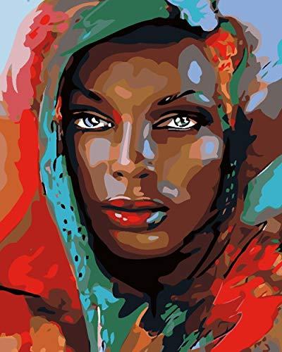 YJRXSS Malen nach Zahlen für Erwachsene Afrikanische Turbanfrau Gemälde Kit für Erwachsene & Kinder Anfänger 16x20 Zoll Enthält 3 Pinsel und Acrylfarben