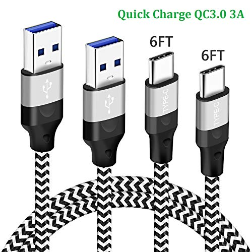 6FT 2Pack Charger Cord Charging Cable for Samsung Galaxy A51 A71 5G A21 S8plus Note9 Note8 S9plus Note 8 9 10 A50 A70 A10E A20 A41,Pixel3 Pixel2 XL,T-Mobile REVVLRY+,USB Type C Fast Charge Phone Wire