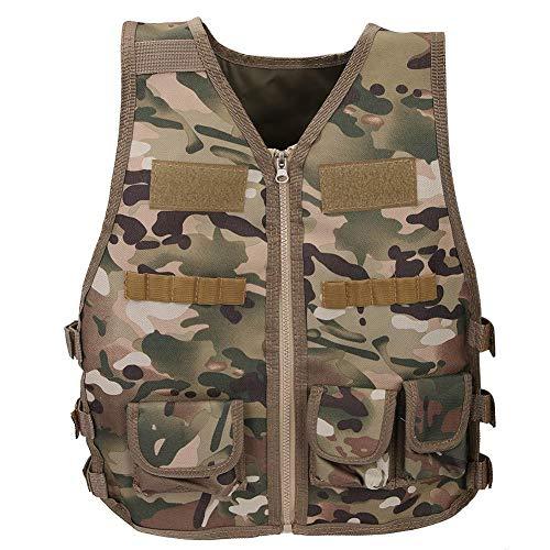 Alomejor Kinder Camouflage Weste Camo Weste Jacke Nylon Army Military Weste für Kinder Spiele Training(M-CP Camouflage)