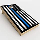 Skin Decals Vinyl Wrap for Cornhole Game Board Bag Toss (4 pcs.) Includes Dry Erase Marker and Scoreboard | Thin Blue Line Flag