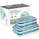Faltbare Silikon-Lebensmittel-Aufbewahrungsbehälter mit Deckel, tragbare Lunch-Bento-Box, Picknick-Box, platzsparend, mikrowellen-, spülmaschinen- und gefriergeeignet, Set von 4 (blau, 800 + 1200 ml)