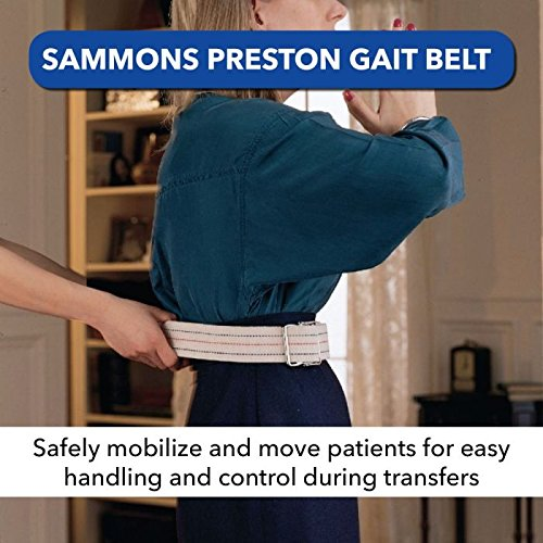"Sammons Preston Gait Belt with Metal Buckle, 2"" Wide, 72"" Long Heavy Duty Gait Transfer Belt, Essential Walking and Transport Assistant for Elderly, Disabled, & Medical Patients, Neutral Stripe"