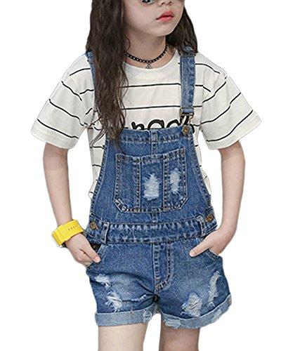 GladiolusA Latzhose Kinder Mädchen Jeans Hosen Shorts Jeanshose Kinder Overall Kurze Jeans Blau 150
