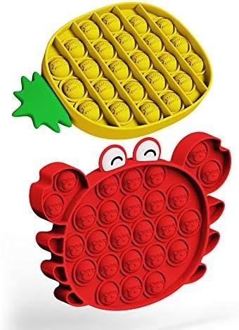 Push Pop Bubble Fidget Toy 2PCS 3D Cartoon Cute Figure Crab and Pineapple Autism Special Needs product image