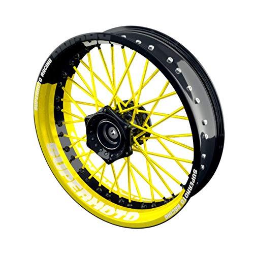 OneWheel Felgenaufkleber Motorrad passend für alle 17 Zoll Supermoto Felgen - Vorder- und Hinterrad beidseitig inkl. Farbiger Spokes - V9 - Felgenrandaufkleber (gelb)