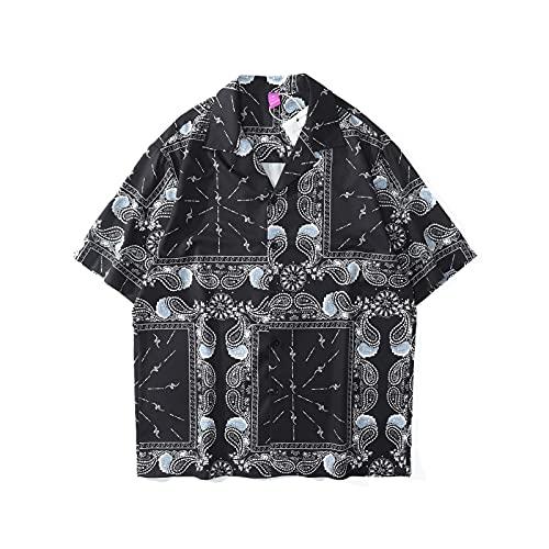 SZQM Camisa Impresa Holgada de los Hombres, Playa de Verano de Manga Corta, Fibra de poliéster Transpirable y Secado rápido XL