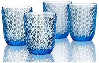 Elle Decor Bistro Key 4 Pc Set Old Fashion, Blue-Glass Elegant Barware and Drinkware, Dishwasher Safe, 10.8 Oz