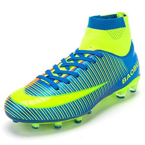 Scarpe da Calcio da Uomo Sportive Leggere Scarpe da Esterno Scarpe da Calcio Scarpe da Calcio Alte Scarpe da Calcio (EU 36, Blue)