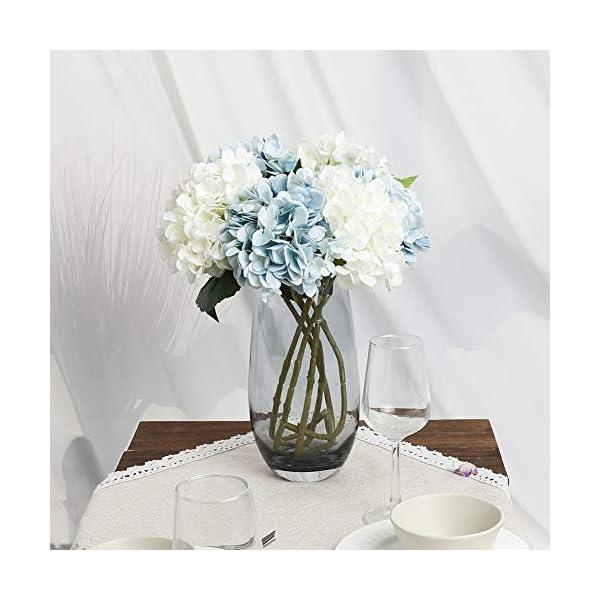 Kisflower 6Pcs Hortensia de Seda Flores Artificiales Hortensia Realista Ramo de Flores para la Fiesta de Bodas Oficina…