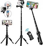 Selfie Stick Tripod, Eocean 45 Inch Extendable Selfie Stick with Wireless Remote Compatible