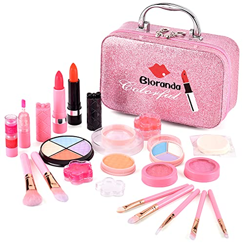Bloranda Real Makeup Toy for Girls,Safe & Non-Toxic Washable Cosmetics with Box for Party Game Easter,Mother's Day Birthday