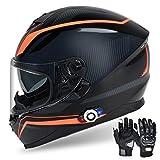 Bluetooth Motorcycle Helmet FreedConn DOT Full Face Bluetooth Helmets Motorcycle (Multi-Color, XL)