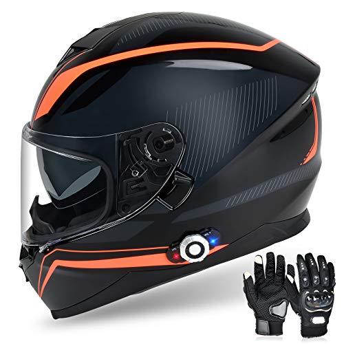 Bluetooth Motorcycle Helmet FreedConn DOT Full Face Bluetooth Helmets Motorcycle (Multi-Color, XXL)