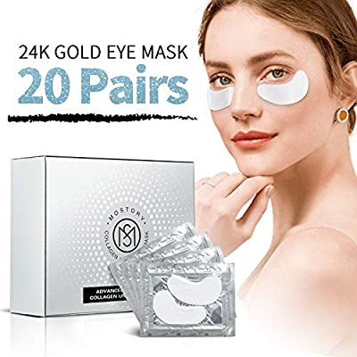 Collagen Under Eye Patches - 20 Pairs Eye Mask Treatment for Deep Moistorize Puffy Eyes Natural Anti-aging Dark Circles Eye Bags Pads Gel Masks Cooling Eye Spa Hydrogel Undereye patch