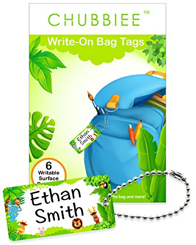 Child ID Bag Tags, Write-On Kids Name Tags for Backpack, Lunchbox & Diaper Bag, Great for Preschool & Daycare, Pack of 6 (Green Forest)