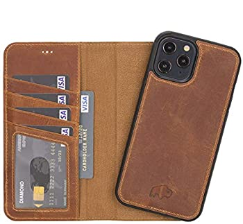 BlackBrook by Burkley Case iPhone 12 Pro Max Wallet Case - Carson Genuine Leather Detachable Wallet Case for iPhone 12 Pro Max  6.7   - Magnetic Snap-on Card Holder w/Kickstand  Antique Golden Brown