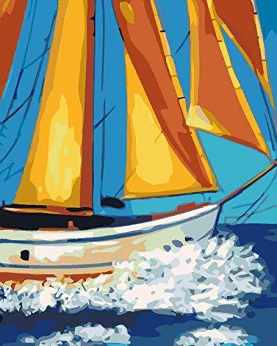 Pintura por números kit de pintura de decoración del hogar para principiantes y niños pintura de bricolaje regalos navideños (sin marco) - barco de vela amarillo