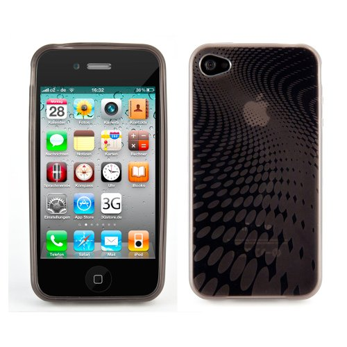 wortek TPU Schutzhülle Melody Wave Muster Apple iPhone 4 / 4S Grau