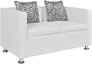 vidaXL Sofá Moderno de 2 Plazas Cuero Artificial Blanco